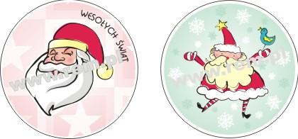 Naklejki na święta , drukarnia naklejek, nalepki świąteczne. Święty Mikołaj.