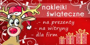 Naklejki świąteczne, naklejki na prezenty, naklejki na witryne, drukarnia naklejek REM pracownia reklam.