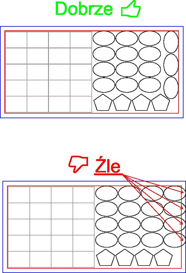 Prawidłowe ułożenie kilku wzorów na jednym arkuszu .